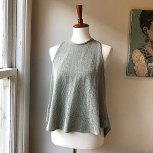 Zara Grey Crewneck High-Low Top Sz S